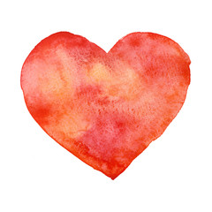 Watercolor red heart, Valentine's Day