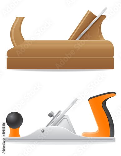 tool wooden and  metal plane vector illustration