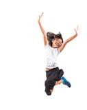 Fototapety Young Malay Asian girl jumping over white background