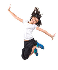 Young Malay Asian girl jumping over white background