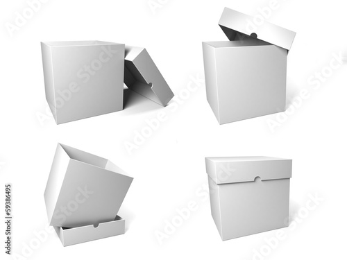 Four containers depicted in the possible configurations with the