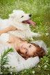 bride with a Samoyed