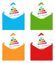 Tarjetas de Feliz Navidad con árboles de regalos de colores