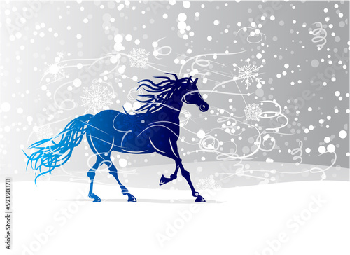 Blue horse sketch for your design. Symbol of 2014 year