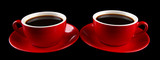Red cups of strong coffee isolated on black