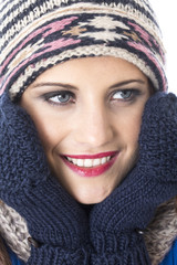 Woman Wearing Woolly Hat and Gloves