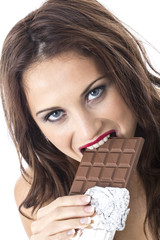 Young Woman Eating Chocolate