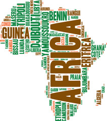 Africa map tag cloud illustration