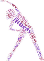 fitness concept tag cloud illustration