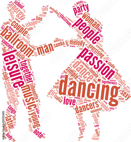 couple dancing  tag cloud illustration