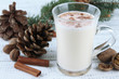 Cup of eggnog with fir branches on wooden background