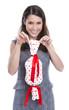 Glückliche Frau am Muttertag mit Geschenk in der Hand