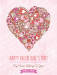 pink background with valentine heart ,  vector