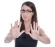 Sexuelle Belästigung oder Gewalt in der Arbeit - Frau sagt Nein