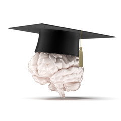 brain with graduation hat