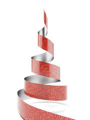 Christmas tree from red ribbon tape