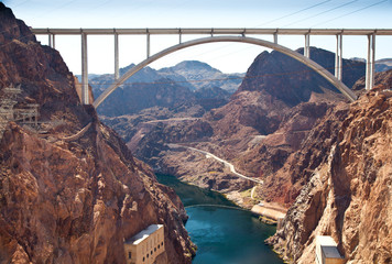 Memorial Bridge Arc over Colorado River nearby Hoover Dam