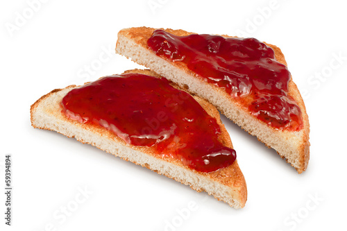 mixed fruit jam on toast