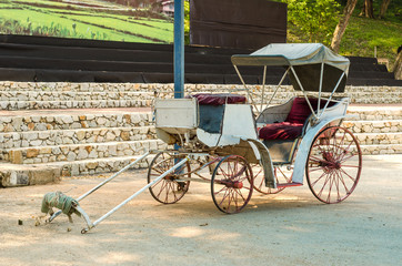 Old horse-drawn carriage or horse wagon without the horse