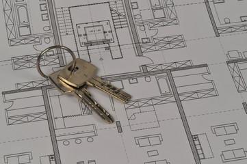 Bauplan, Schlüssel, Zeichnung, Architektur, Eigentumswohnung