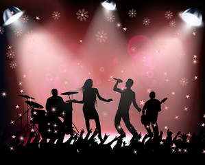 People dancing in rock concert Christmas party on red background