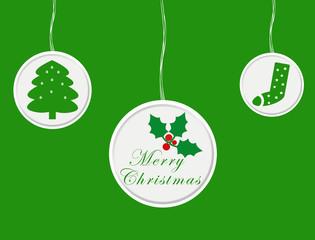 Tarjeta de Feliz Navidad con adornos en colores verdes