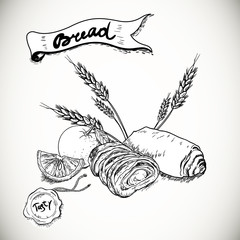 Bakery sketches in vintage style
