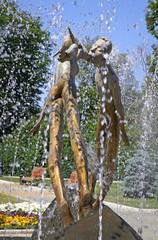 Monument of Lovers (or Monument of Kiss) in Kharkiv, Ukraine