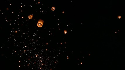 Floating asian lanterns in ,Chiang Mai Thailand