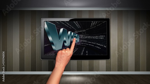 WEB Internet Concept in Monitor, Open with Click Hand
