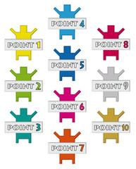 point1~10ボタン素材
