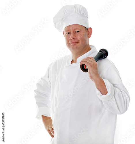 Male chef with pepper grinder