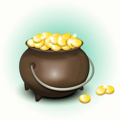 Magic Pot with Gold Coins for Patricks Day