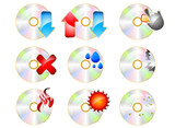 CD ROM Icon set vector on a white background