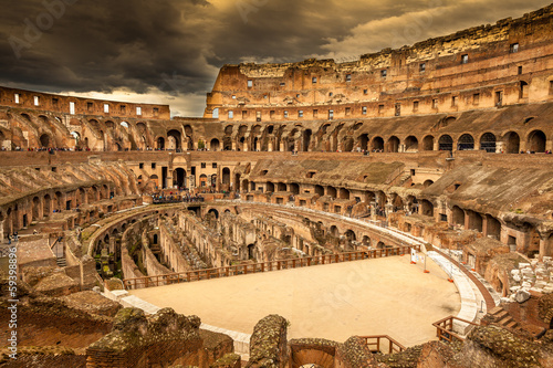 Inside of Colosseum in Rome, Italy - 59398896