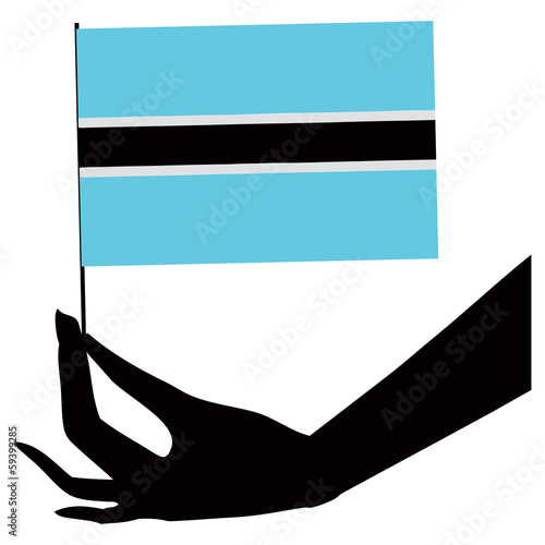 Botswana flag in his hand