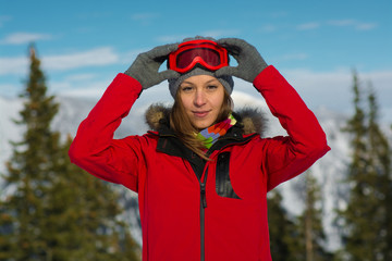 Sport woman in ski goggles