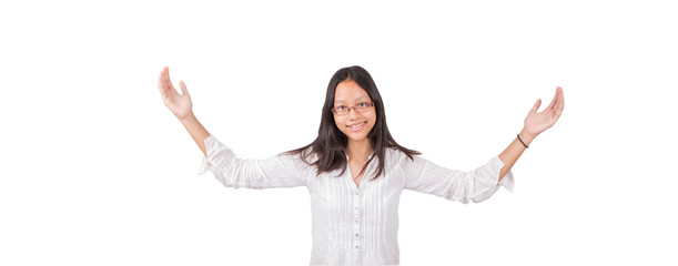 Teenage Asian girl with hand outstretched over white background