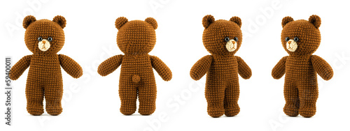 handmade crochet brown bear doll on white background, four side