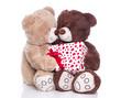 Liebespaar isoliert - Teddybären verliebt am Valentinstag