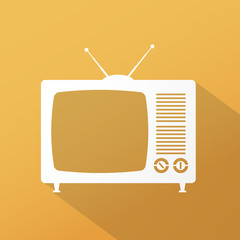 Retro TV icon with long shadow