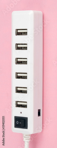 Usb Hub on Pink Background
