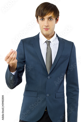Businessman in a suit gesturing to collect money