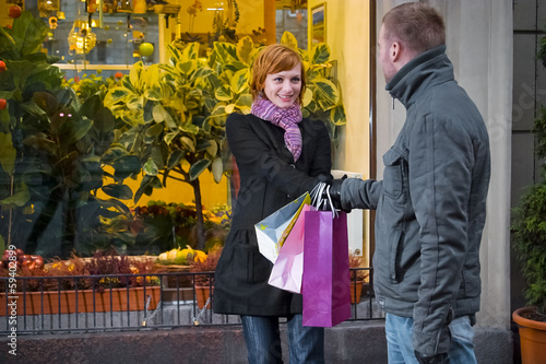 young couple make shopping