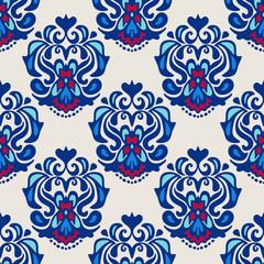 Damask flower seamless vector pattern