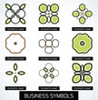 Abstract business green geometric symbols icon set