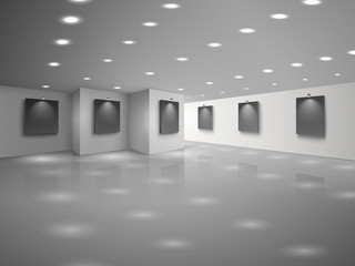 Empty white hall interior with blank black canvases