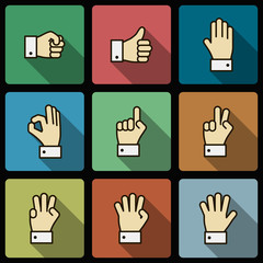 Hand gestures UI design elements, squared shadows
