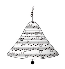 Musical Christmas bell,object white isolated,vector