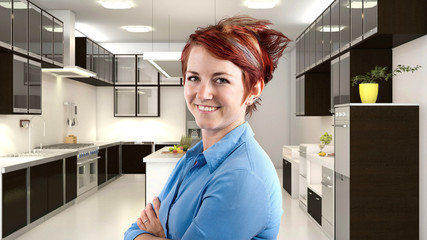 young female redhead server in a 3d kitchen